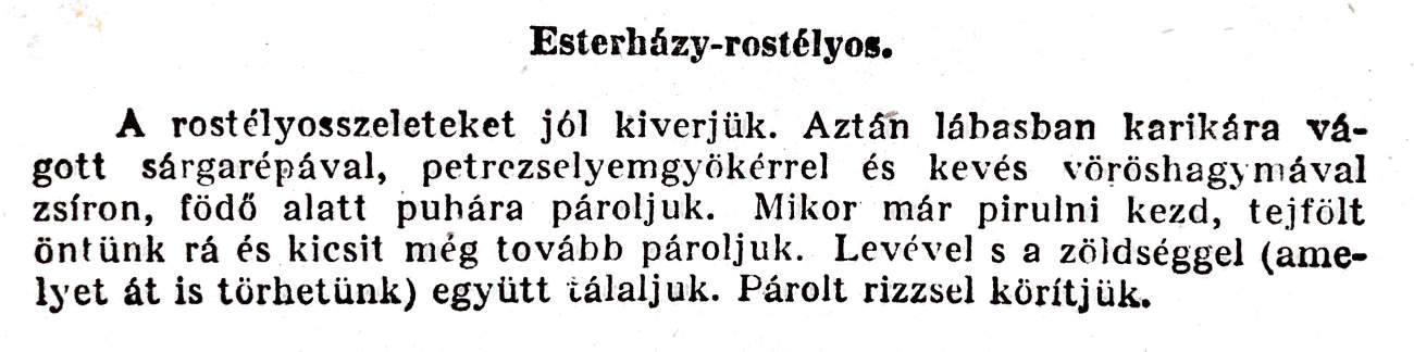 Eszterházy-rostélyos Magyar Elek, az Ínyesmester szerint